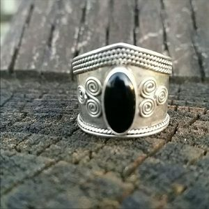 Vintage sterling silver cigar band onyx ring